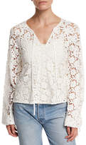 Elizabeth and James Chantalle Long-Sleeve Cotton Lace Top, Ivory