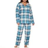 Liz Claiborne Flannel Long Sleeve Pant Pajama Set - Plus