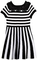 My Michelle mymichelle Lace Yoke Striped Knit Dress (Big Girls)