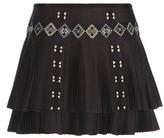 Vanessa Bruno Embroidered Plissé Cotton Miniskirt