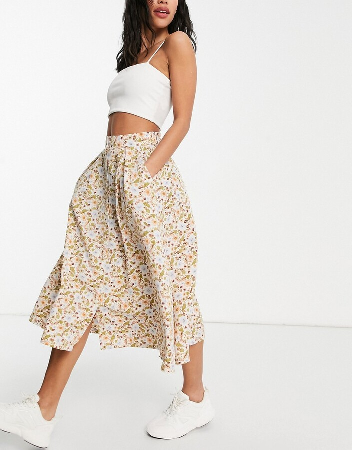 Thumbnail for your product : Monki Sigrid recycled button through floral print midi skirt in multi