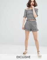 Monki Gingham Ruffle Shorts