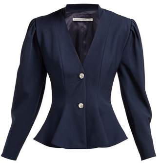 Alessandra Rich Peplum Crystal Button Wool Blazer - Womens - Navy