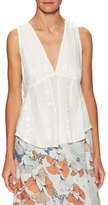Free People Embroidered V-Neck Shell
