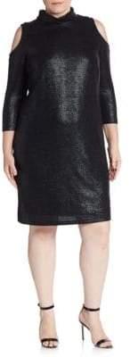 ABS by Allen Schwartz Plus Textured Cold-Shoulder Turtleneck Dress