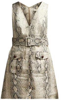 Zimmermann Corsage Python-print Linen Mini Dress - Womens - Python