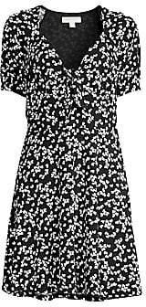 MICHAEL Michael Kors Women's Petal-Print Tie-Front Mini Dress