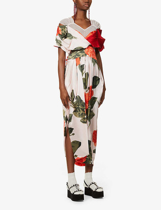 Simone Rocha Floral-print silk and tulle maxi dress