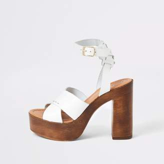 River Island Womens White leather cross platform heeled sandals