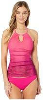 Lauren Ralph Lauren Ombre Palm High Neck Halterkini (Pink) Women's Swimwear