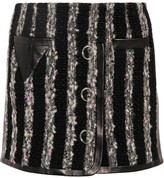 Alexander Wang Leather-paneled Bouclé Mini Skirt - Black