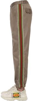 Gucci COTTON DRILL PANTS W/ KNIT SIDE BANDS