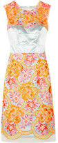 Innes neon embroidered organza and silk-satin dress