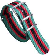 AUTULET Green/Red/Black Luxury Exquisite Colorful Men's One-piece NATO style Nylon Watch Bands Straps