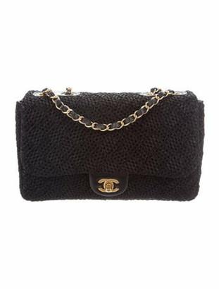 Chanel Medium Raffia Single Flap Bag Black