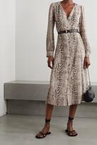 Thumbnail for your product : MICHAEL Michael Kors Kate Belted Snake-print Crepe Midi Dress - Animal print