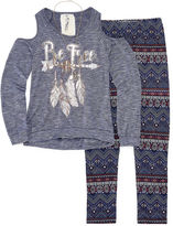 Knitworks Knit Works Cold Shoulder Long Sleeve Fashion Top Legging Set with Necklace- Girls' 7-16 & Plus