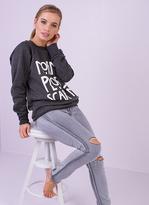Missy Empire Frieda Dark Grey Normal People Scare Me Sweatshirt