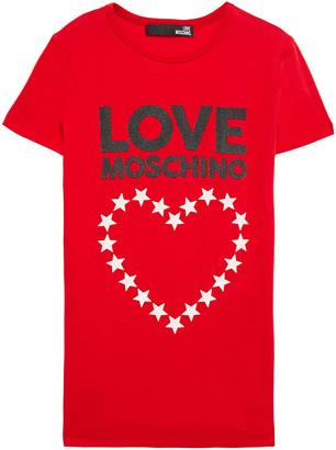 Love Moschino Glittered Printed Stretch-cotton Jersey T-shirt