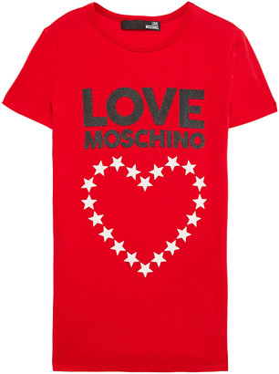 Love Moschino Glittered Stretch-cotton Jersey T-shirt