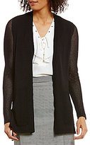 Jones New York Mesh Knit Sleeve Cardigan