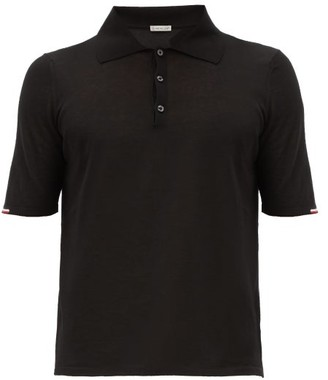 Moncler Tricolour-trim Cotton-jersey Polo Shirt - Black