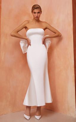 Rasario Bridal Bow-Embellished Satin Maxi Dress