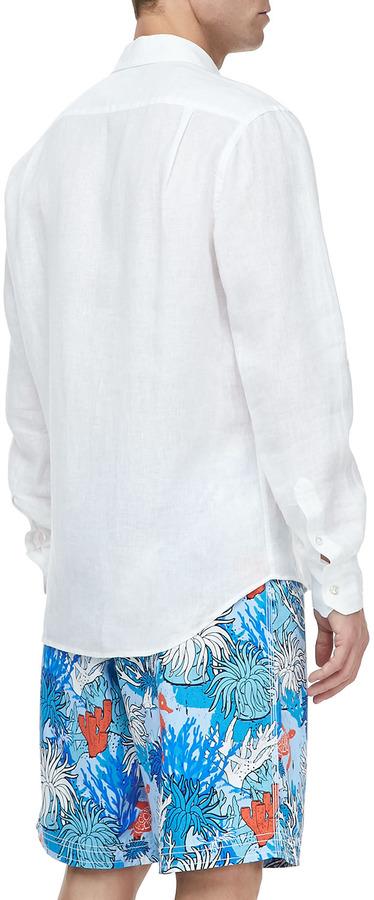 Vilebrequin Linen Long-Sleeve Shirt, Light White