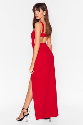 Nasty Gal Womens Square Neck Open Back Maxi Dress - red - 8