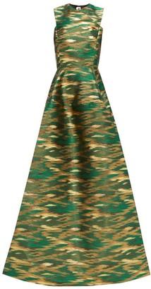 Maison Rabih Kayrouz A-line Ikat-brocade Gown - Womens - Green Multi