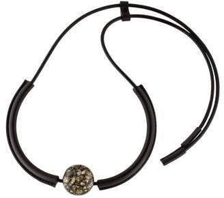 Marni Leather, Pyrite, & Resin Collar Necklace
