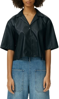 Tibi Tissue Faux Leather Short-Sleeve Shirt