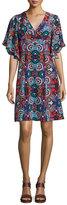Nanette Lepore Flutter-Sleeve Floral-Print Silk Dress, Red/Multi