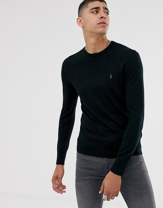 AllSaints 100% merino wool crew neck sweater in black