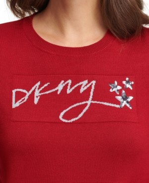 DKNY Sequined Crewneck Script Logo Sweater