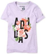 adidas Girls 7-16) Logo Roses V-Neck Tee