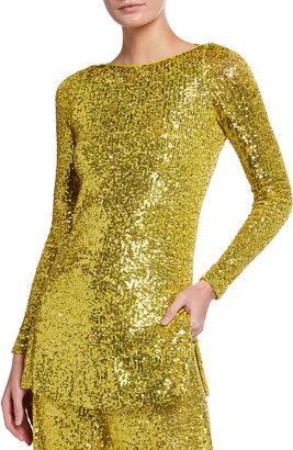 Naeem Khan Long-Sleeve Sequin Tunic