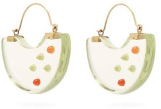 Vanda Jacintho - Studded Half-moon Resin Earrings - Green