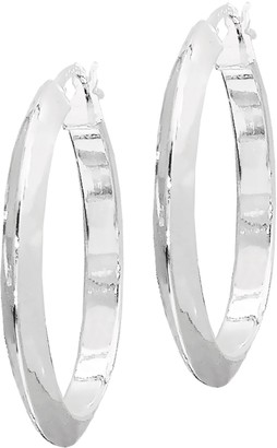 "Sterling Knife-Edge Polished 1"" Hoop Earrings"