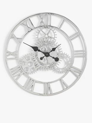 John Lewis & Partners Large Roman Numeral Skeleton Wall Clock, 70cm, Silver