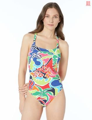 Nautica Women's Shirred Front Adjustable Cross Back One Piece Swimsuit