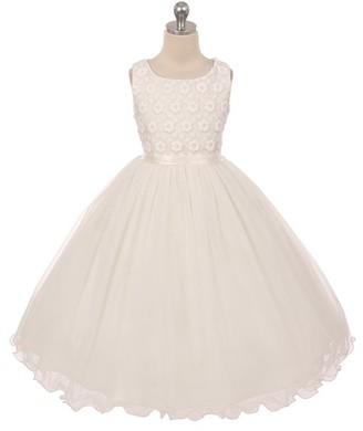 Kid's Dream Girls' Special Occasion Dresses ivory - Ivory Floral Tulle Communion Dress - Toddler & Girls