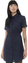 Fred Perry Womens Pin Dot Belted Shirt Dress Dark Carbon