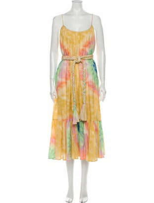 Rhode Resort Tie-Dye Print Midi Length Dress Green Tie-Dye Print Midi Length Dress