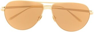 Linda Farrow Tonal Aviator Sunglasses