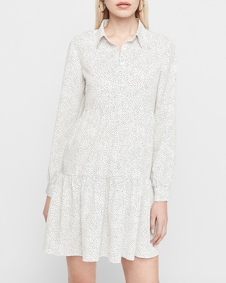 Express Spotted Tiered Shirt Dress