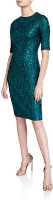 Rickie Freeman For Teri Jon Stretch Jacquard Short-Sleeve Sheath Dress
