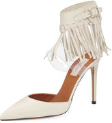 Valentino Fringed Ankle-Strap Leather Pump, Ivory