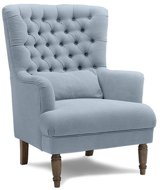One World Button Wing Chair Slate Blue