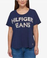 Tommy Hilfiger Plus Size Lace-Print Logo T-Shirt